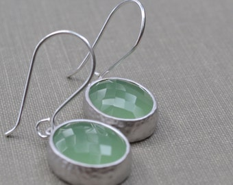 Mint Green Framed Glass Earrings, Sterling Silver French Hook, Green Glass Stone, Bridesmaid Earrings
