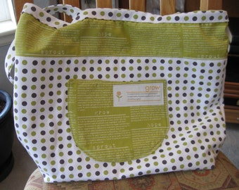 Large Lined Canvas Tote designed by Sweetwater and featluring Make Life fabric