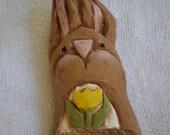 Carved Cypress Knee Easter Bunny, Hand Carved Folk Art Spring Sale