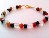 Rainbow Moonstone, Tigereye, and Red Aventurine Bracelet
