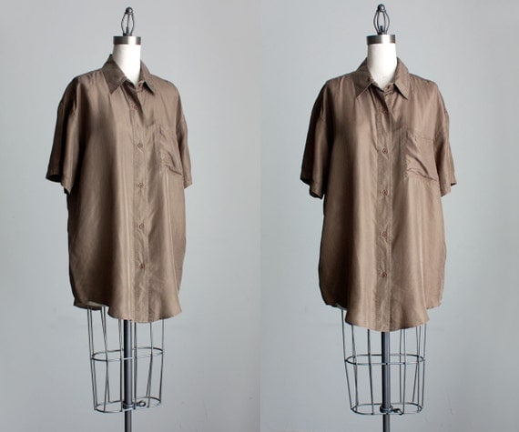 Silk Blouse 1990s Vintage Olive Drab Button Down Slouchy Silk Shirt