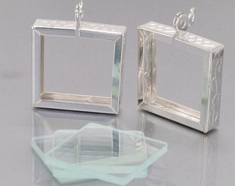 5Pieces silvery white Great two sided Blank Photo frame Pendant