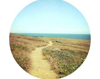 Round landscape photograph gold and aqua modern rustic wall art California print - Trail of Beauty