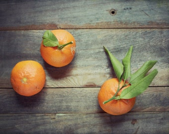 Fruit still life photography dark gray wood farmhouse rustic kitchen art oranges food photography 'Clementines'