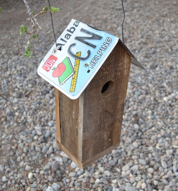 Alabama reclaimed license plate barnwood bird house