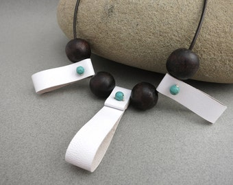 White Leather Necklace with Ebony and Turquoise Colored Beads, Leather Jewelry, Leather Accessories for Women