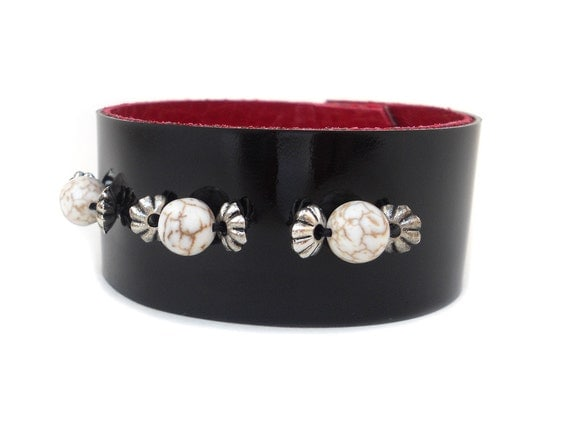 Black Patent Leather Cuff Bracelet, Beaded Leather Jewelry