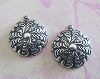 NEW 2 Silver Drop Charms 3110