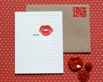 XOXO Kiss - letterpress card