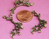 10 pcs of Antique brass leaf branch pendant 21x34mm