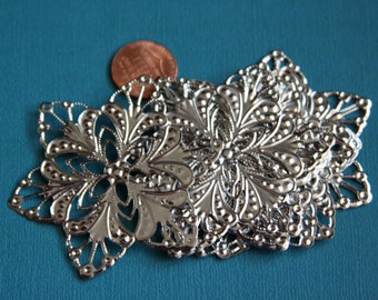 Bulk 50 pcs of Platinum color plated filigree flower wrap 60mm