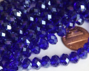 15 inch Strand of Dark  Blue Glass faceted rondelle beads 5X8mm