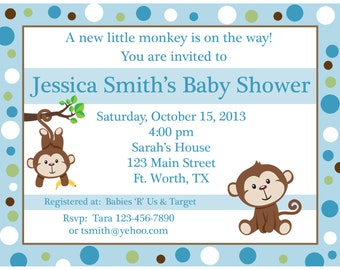 20 Personalized Baby Shower Invitations  - Little Monkey