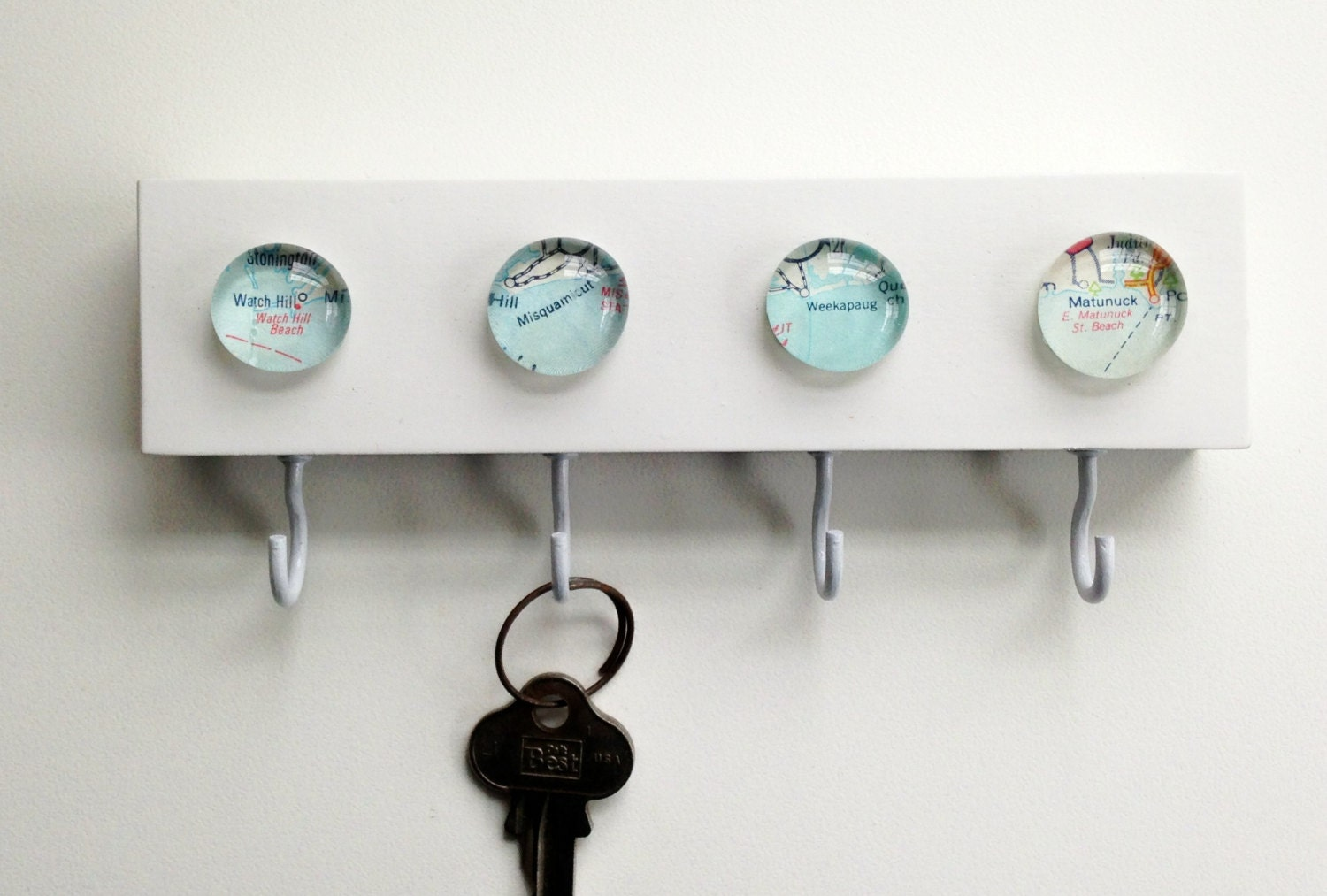 Vintage map new key hook key rack key holder wall hook Hooks for the wall