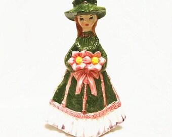 Vintage Wales Porcelain Figurine Japan Girl With Flowers