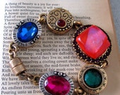 Chunky Vintage Bracelet with Ornate Charms and a Fused Glass Focal Jewel