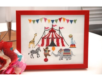 The Circus is in Town Cross Stitch Pattern Instant Download