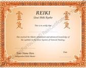 Border 5 Reiki Certificate Template - Landscape Oriented