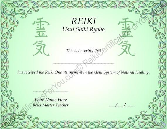 Celtic knotwork 2 reiki certificate template landscape for Reiki level 1 certificate template