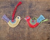 Pottery Ornaments READY TO SHIP Love Birds Holiday Ornaments Ceramic Ornaments Tweet Clay Ornament Set Tree Trim Gift for Couple Gift Tag
