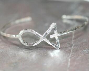 Jesus Fish Bracelet, Ichthus Bangle Cuff Bracelet, Faith Jewelry, Adjustable Bracelet, Fine Silver Fish Bracelet Maggie McMane Designs