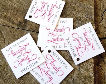 Script Modern Gift Tags - Hot Pink Mini Wedding Favor Tags - Wedding Gift Tags - Thank you tags - Hang tags - Set of 50