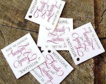 Script Modern Gift Tags - Hot Pink Mini Wedding Favor Tags - Wedding Gift Tags - Thank you tags - Hang tags - Set of 50
