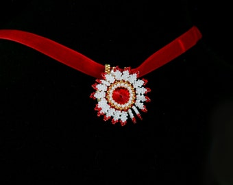 Dhalia Locket, Beaded, Red, White and Gold