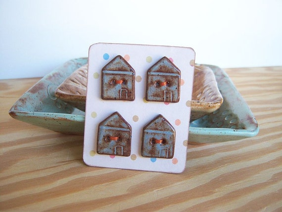 Ceramic House Buttons in Blue Shino Glaze - Set of 4