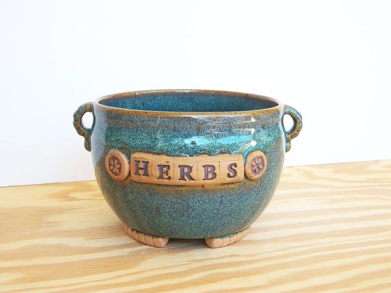 Stoneware Planter Pot in Sea Mist Glaze - Herbs