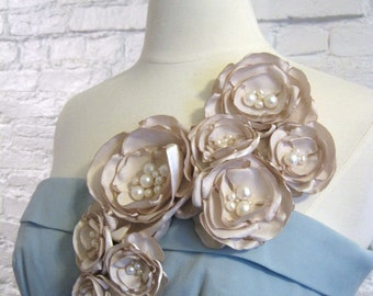 fabric flower brooch - multi bloom  statement corsage pin in ivory with freshwater pearl centers - Ready To Ship