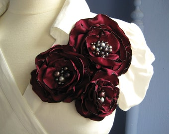 fabric flower brooch -   luxe three bloom  corsage pin in deep red with freshwater pearl centers