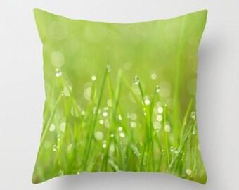 Splendor In The Grass Pillow Cover Grass Print Bokeh Woodland Forest Grass Photograph Circles Of Light Calming Scene