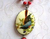 Vintage bird necklace, long chain - large pendant, red glass beads - vintage style