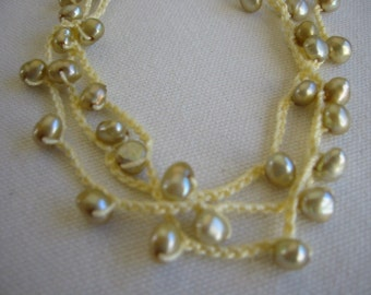 Crochet Necklace or Bracelet Yellow Freshwater Pearls