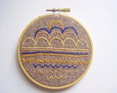 Embroidery hoop wall art decor OOAK Geometric, scallops, chevrons, straight lines in blue yellow and orange