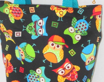 Bright Colored Owls Purse/Gift Bag/Tote