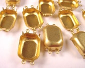 12 Brass Octagon Prong Settings 18x13 4 Rings Closed Backs