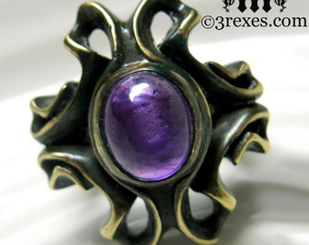 Purple Amethyst Ring Gothic Vampire Cocktail Band - The Empress Size 8