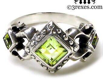 Royal Princess Wedding Ring Green Peridot Stone Gothic Sterling Silver Band Size 6