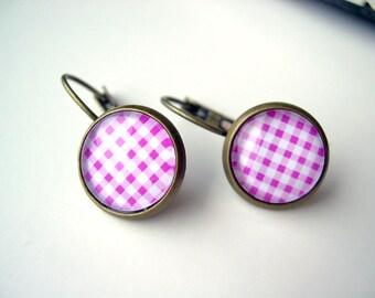 Pretty pink gingham earrings sweet lolita feminine