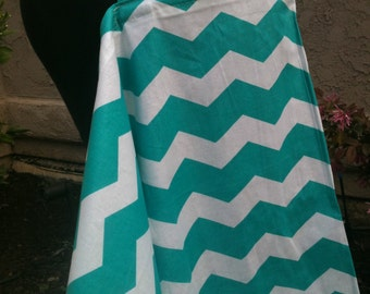 Nursing Cover, Breastfeeding Feeding Cover up, Carseat Canopy Cover, Nursing cover up, Tuquoise ChevronCover