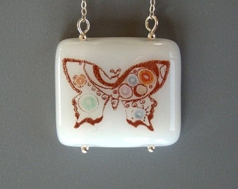 SALE Paisley Butterfly Fused Glass Necklace Sterling Silver Multicolor