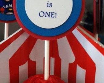 Custom - Set of Cupcake Toppers, Circus, Circus Party