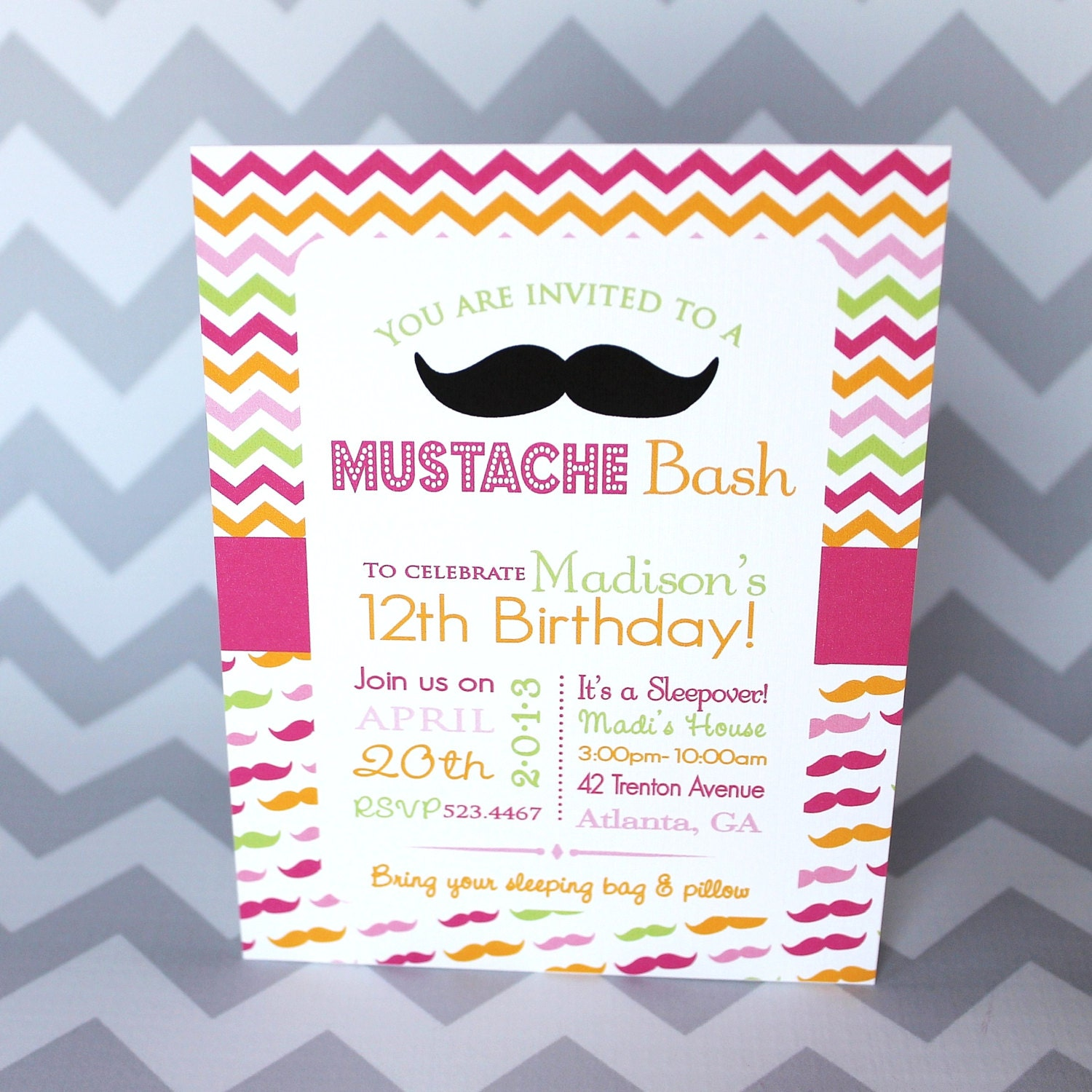 Mustache Bash Birthday Invitation Teen Girl By BabycakesArt