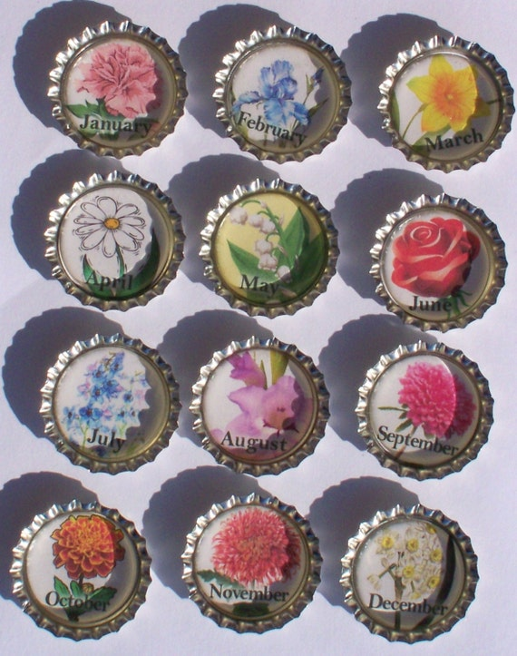 Items similar to bottle cap magnets 12 months of the year for How to make bottle cap flowers