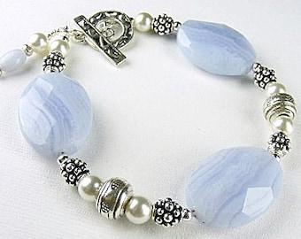 Blue Lace Agate Bracelet (Jodphur) by Gonet Jewelry Design