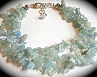 genuine aqua marine geode necklace