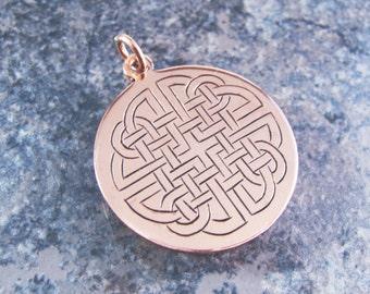 Hand Engraved Copper Double Celtic Knot Pendant