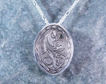 Hand Engraved Scrollwork Sterling Silver Necklace with Emerald Green CZ